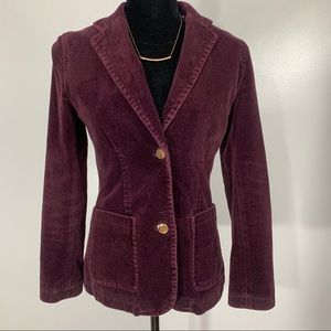 Gap Velvet Blazer with Ornate Two Tone Buttons